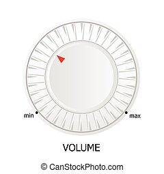white volume knob vector illustration on white background