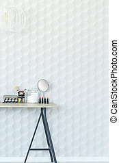White wall and desk