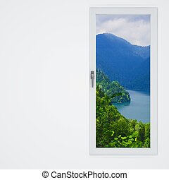 white wall and window with a beautiful view on mountains and...