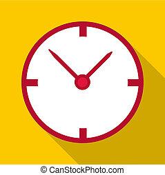 White wall clock icon, flat style