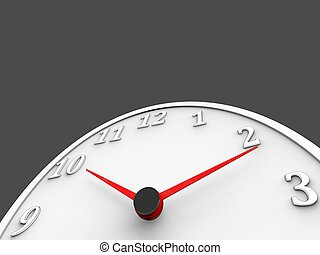 White wall clock with red dials - low angle