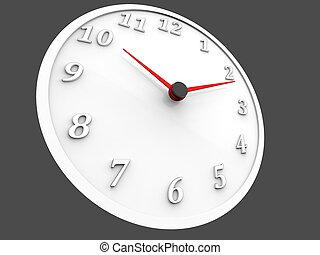 White wall clock with red dials