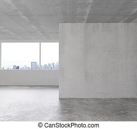 White wall in empty loft room with concrete floor