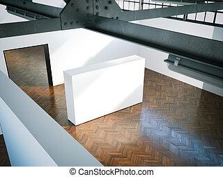 White wall in modern museum. 3d rendering