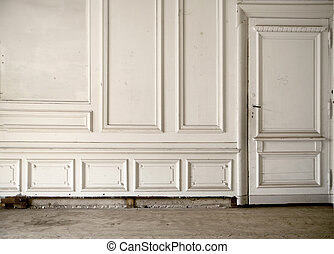White wall in the bright ancient room - White wall in the...