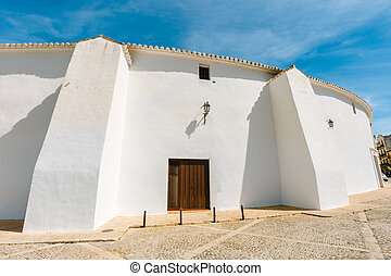 White wall of Plaza de Toros in Ronda, Spain, Andalusia