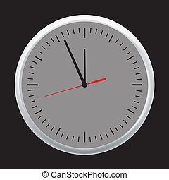 White wall office clock icon set showing five minutes to twelve. Vector illustration.