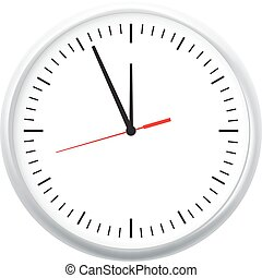 White wall office clock icon showing five minutes to twelve. For new year concept.