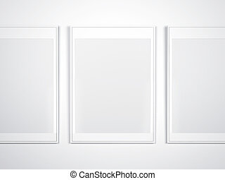 White wall with blank frames