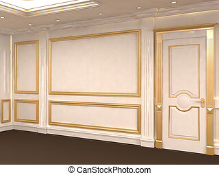 White wall with golden frame at gallery. Museum. Luxurious ...
