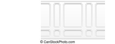 White wall with moulding frames. Classic interior with moulding panels. Seamless vector background