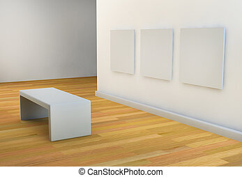 white walls art gallery or studio with viewing seat - empty...