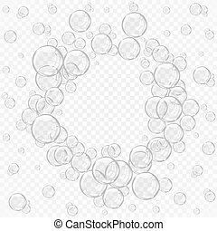 White water bubbles on transparent background vector illustration