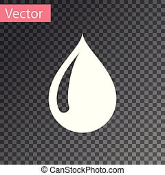 White Water drop icon isolated on transparent background. Vector Illustration