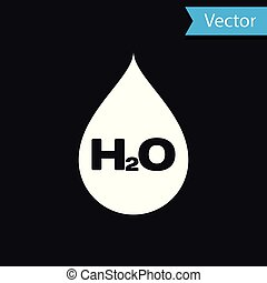 White Water drop with H2O icon isolated on black background. Water formula. Vector Illustration