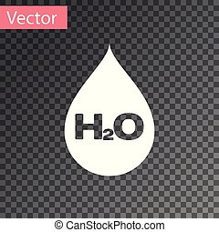 White Water drop with H2O icon isolated on transparent background. Water formula. Vector Illustration