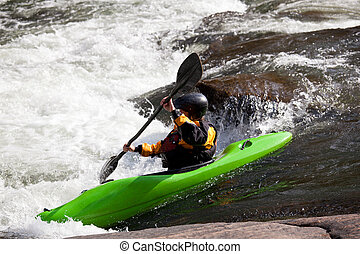 White water kayaking - Canoeing in white water in rapids on ...
