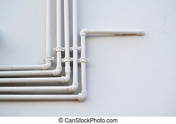 White water pipes on the wall