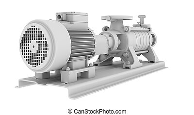 White water pump - Water pump. Isolated render on the white...