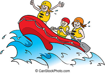 white water rafting 2 - cartoon illustration of three happy...