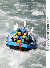 White water rafting on the rapids of river
