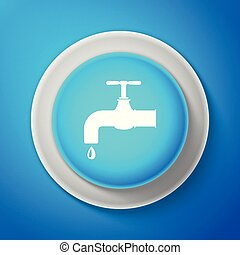 White Water tap with a falling water drop icon isolated on blue background. Circle blue button with white line. Vector Illustration