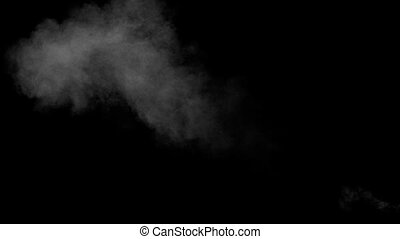 White Water Vapour on Black Background - White water vapour...