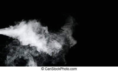 White Water Vapour - White water vapour on a black...