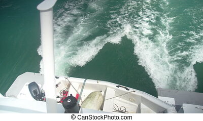 White water wake created by a watercraft - A shot from the...