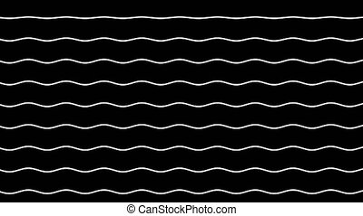 White wavy lines move up on a black background. Graphic...