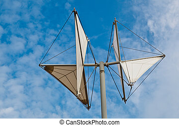 White Weather Vane in Genoa Dock, Italy