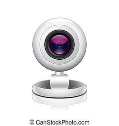 White webcam vector illustration - White webcam isolated on...