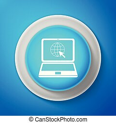 White Website on laptop screen icon isolated on blue background. Laptop with globe and cursor. World wide web symbol. Circle blue button with white line. Vector Illustration
