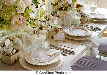 White wedding Banquet Table With Milk & Doughnuts - Image of...