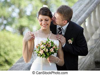 White wedding bride and groom - Bride and groom newlyweds...