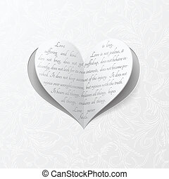 White wedding card with paper heart - Vector heart clipped...