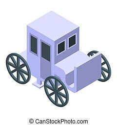 White wedding carriage icon, isometric style