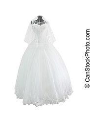 White wedding dress and veil