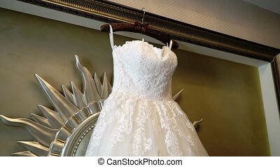 White wedding dress - White luxury wedding dress indoors