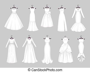 White wedding dresses on hangers, marriage clothes