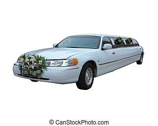 White wedding limousine for celebrities and special events ...