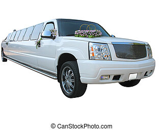 White wedding limousine isolated on white