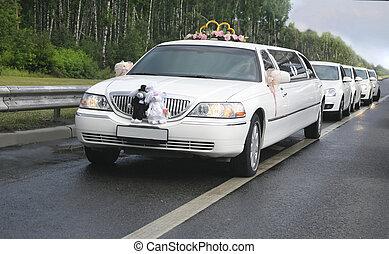 wedding limousine with ex-court - white wedding limousine...
