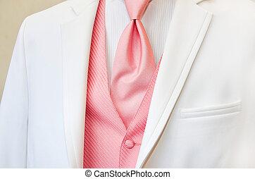 white wedding tuxedo with pink tie