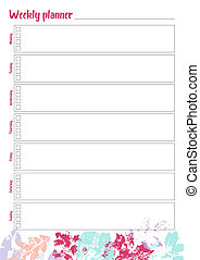 White weekly planner with bright leaves design