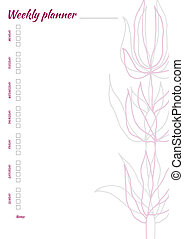 White weekly planner with minimalistic leaves pattern