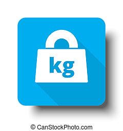 White Weight Kilograms icon on blue web button
