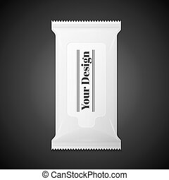 White wet wipes package isolated on black background - White...