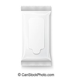 White wet wipes package with flap. - White wet wipes package...