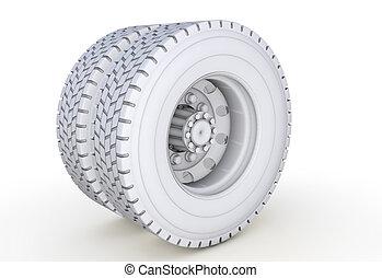 white wheel on a white background 3d render